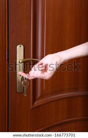 Women hand open door knob or opening… Stock Photo 487754008