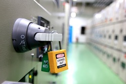 Lockout Tagout , Electrical safety system.Key lock switch or circuit breaker for safety protect.in electric room.