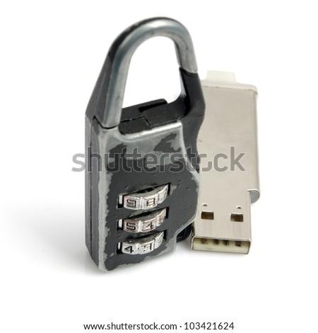 Locks and U-disk - stock photo