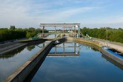 Locks on the Dender river, in Dendermonde, Belgium