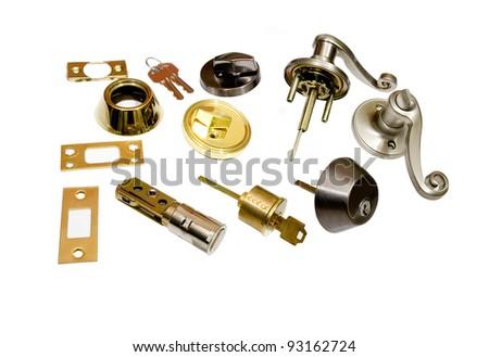 locksmith door locks and key, do it yourself home hardware on white background