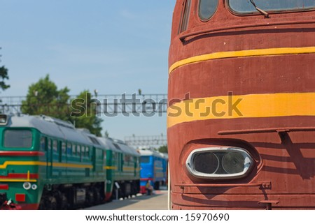 locomotive and wagon on railroad station