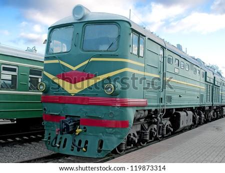 Locomotive on platform station