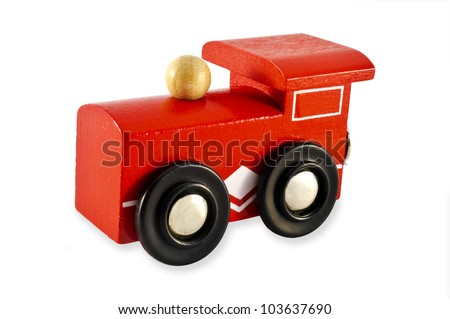 Locomotive train engine toy isolated on a white background. Concept photo for transport ,transportation, retro, old, vintage ,design.