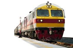 Locomotive train on railroad tracks with platform isolated on white background.