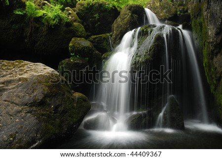 Lodore Falls in Borrowdale in the English Lake District - stock photo