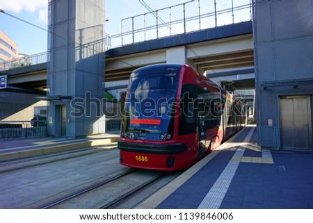 LODZ, POLAND, MAY 26 , 2018: tram - tram stop #1139846006