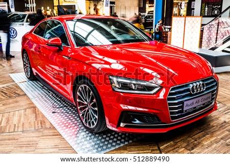 Lodz Poland November Red Audi A Coupe EZ Canvas - Audi car red