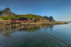 Lofoten island , Norway, Typical red house on coast