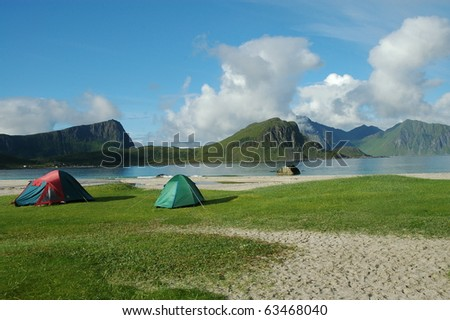 Lofoten Norway fjord scenic in summer #63468040
