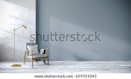 loft and vintage interior of living room, Blue armchairs on white flooring and blue wall  ,3d rendering Сток-фото ©