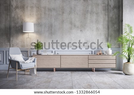 Loft interior design ,Wood Tv cabinet and gray chair on concrete wall with cement flooring , 3d render