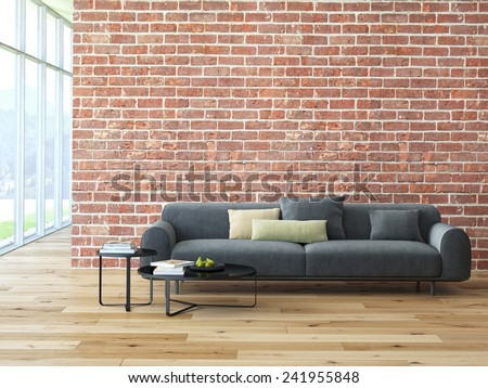 Loft interior with brick wall and coffee table. 3d rendering
