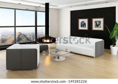 Loft interior with huge windows, fireplace and landscape view