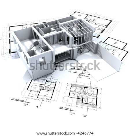 Loft mock-up on top of architecture blueprints - stock photo
