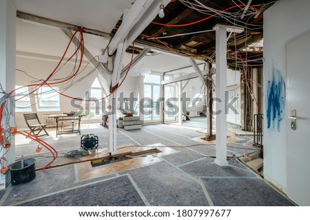 Loft room during renovation,  apartment refurbishment  Stockfoto ©