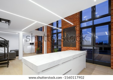 Loft style apartment with led ceiling lighting over open space kitchen and living room