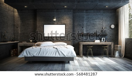 Loft Style Bedroom Interior Design with Mock up Picture Frame. 3D Rendering #568481287
