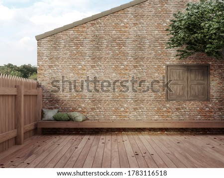 Loft style empty courtyard 3d render,There has a wooden floor and fence, old brick wall and decorated with long wooden benches with views of nature outside.