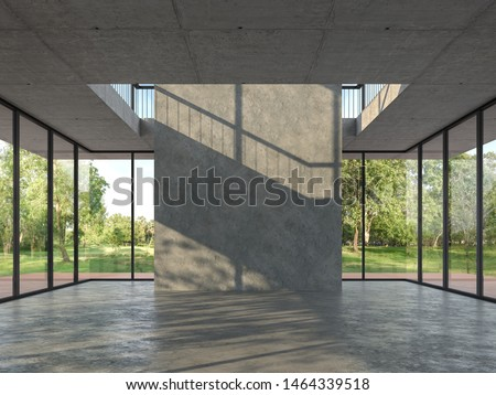 Loft style empty room with concrete backdrop 3d render,With a concrete floor and ceiling. There are large  window, looking out to see wood terrace and nature view.