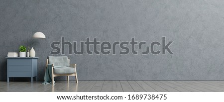 Loft style house with armchair and accessories in the room. 3d rendering