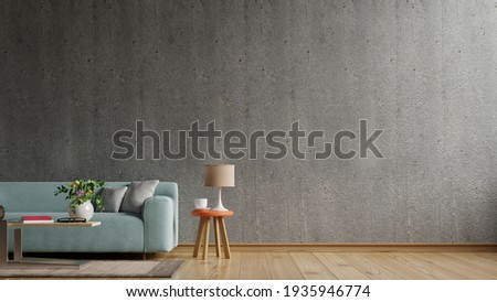 Loft style house with sofa and accessories in the room.3d rendering