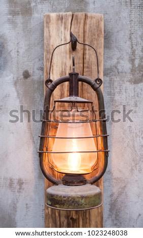 Loft style vintage lamp in a grunge interior