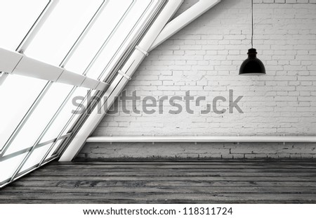 loft with ceiling lamp and window