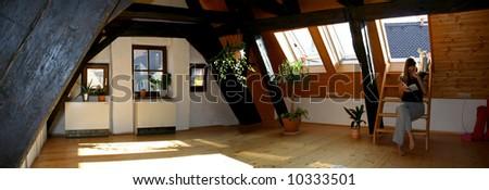 loft wooden floor bedroom