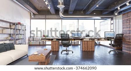 loft workplace. loft office....