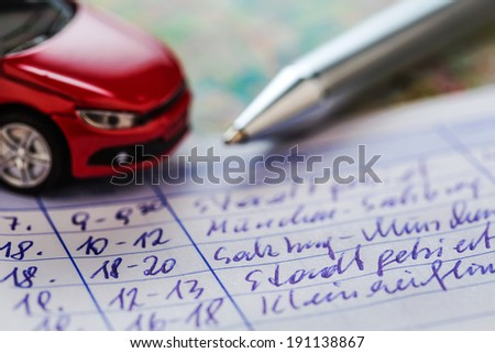 log book for a car. for commuter tax and revenue office.