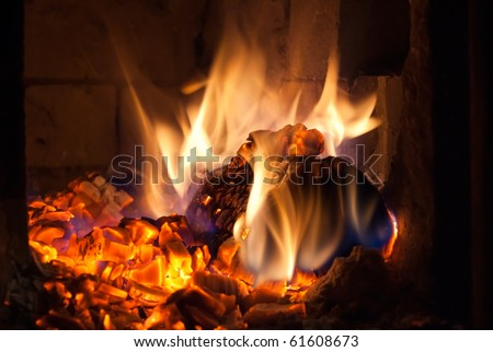 log burning in the fireplace