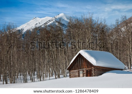 Log cabin covered in snow in a wintry landscape.