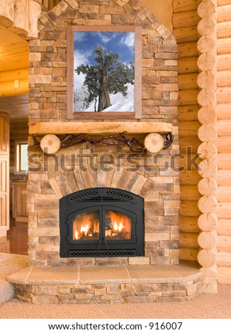 Log Cabin Home Interior with Warm Fireplace ~ Logs, flames, ash, embers and charcoal