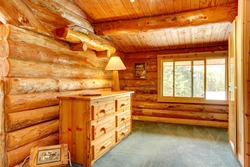 Log cabin house interior - an office space.