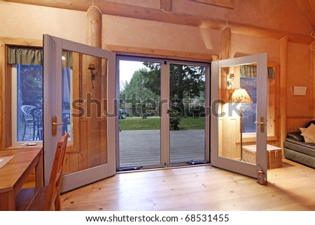 Living Room on Log Cabin Living Room In The Evening Light Stock Photo 68531455