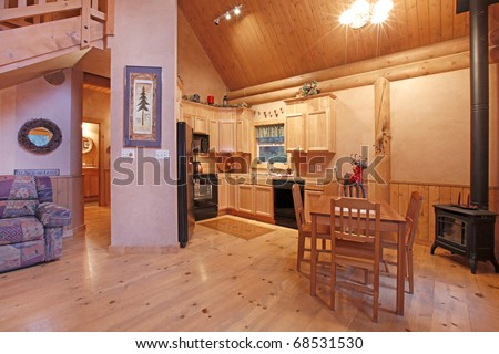 Log cabin living room in the evening light