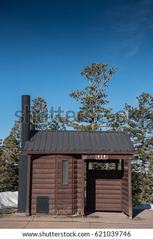 Log Cabin Privy for tourists to use during their visit to a National Park