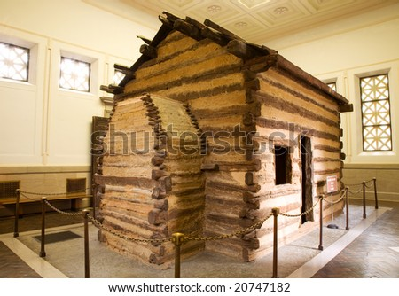 Log cabin representing the birthplace of Abraham Lincoln.