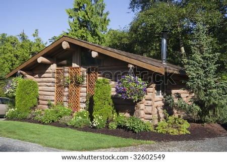 Log Cabin with Hanging Basket, Canada