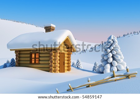 log house and fir-tree in snow-drift mountain landscape