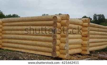 Log house from pine logs collected manually, the ancient Russian technology of building houses #621662411