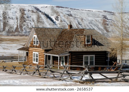 Log House on National Elk Refuge in Wyoming, USA