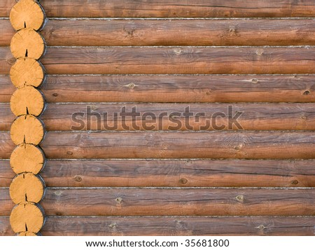 Log house structure wood building home exterior - stock photo