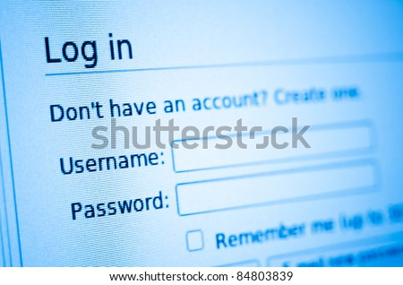 Log in and password on computer internet account screen