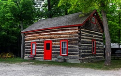 log shack in the Canadian countryside;