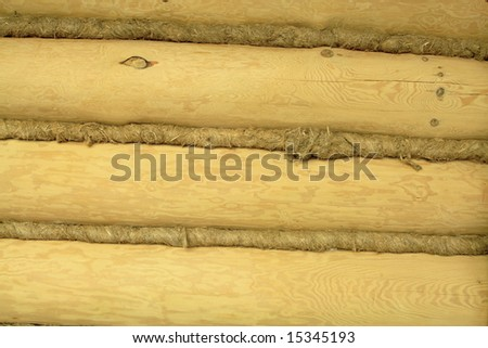 log wall in a raw can serve as background