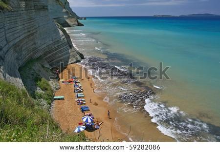 logas beach on corfu island, greece