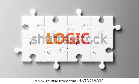 Logic complex like a puzzle - pictured as word Logic on a puzzle pieces to show that Logic can be difficult and needs cooperating pieces that fit together, 3d illustration ストックフォト ©