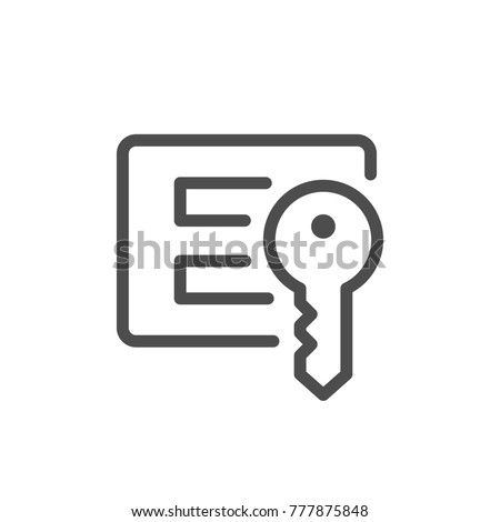 Login and password line icon isolated on white